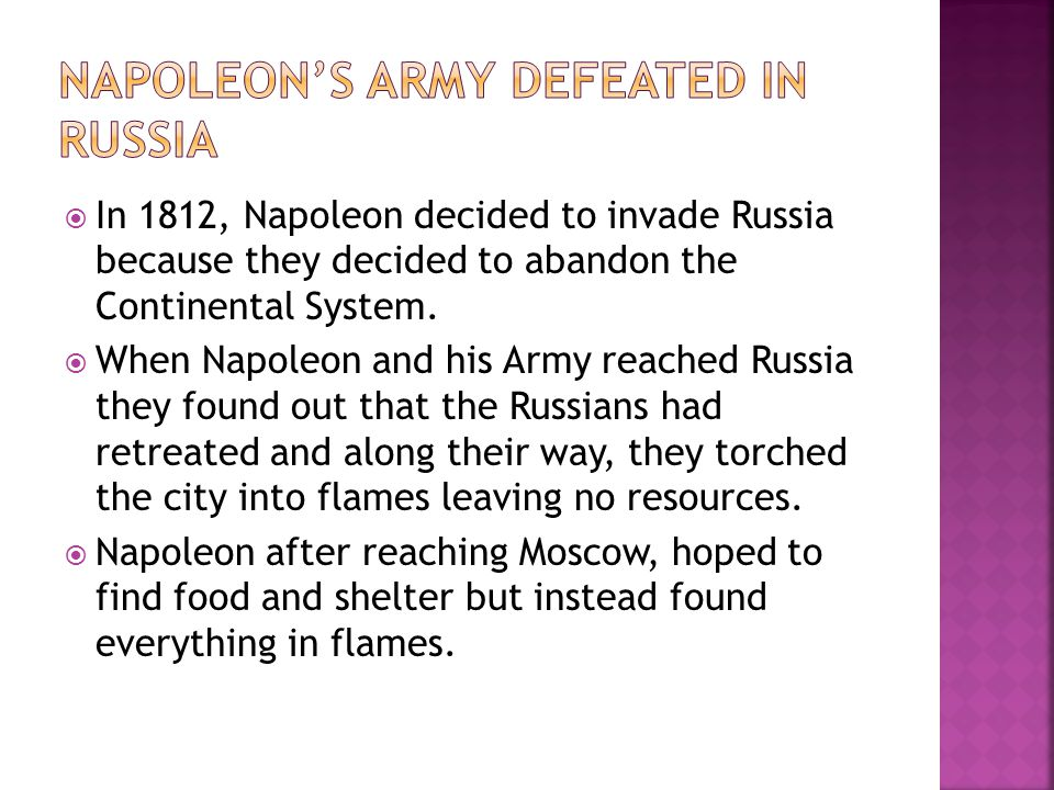 Napoleon's Army defeated in Russia
