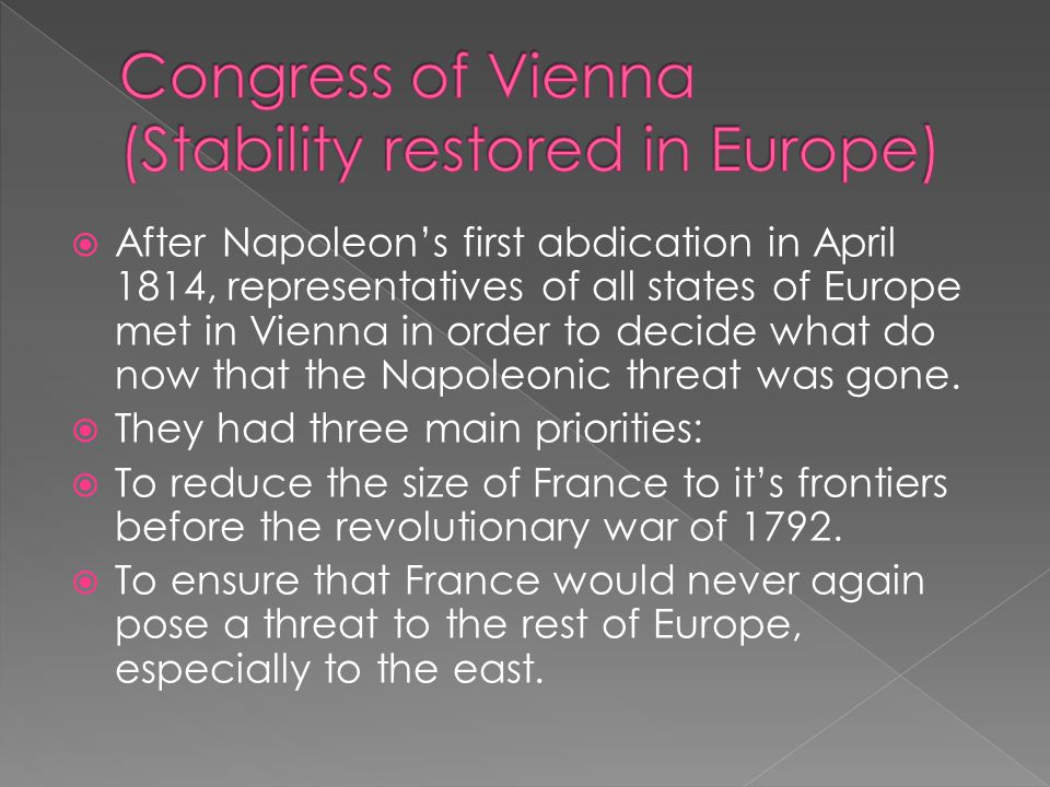 Congress of Vienna (Stability restored in Europe)