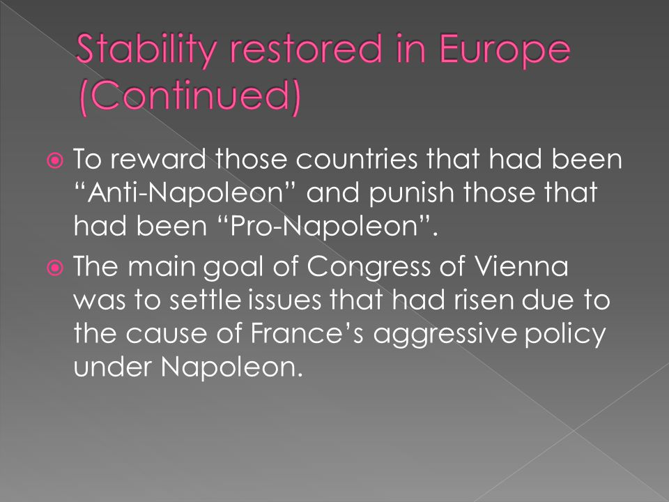 Stability restored in Europe (Continued)