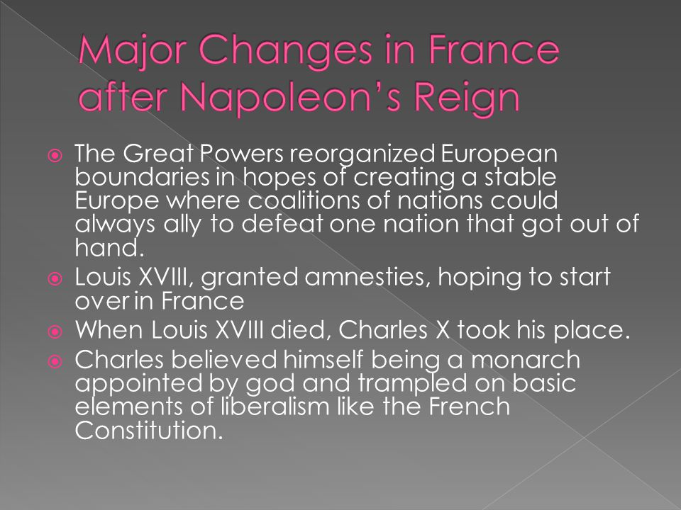 Major Changes in France after Napoleon's Reign