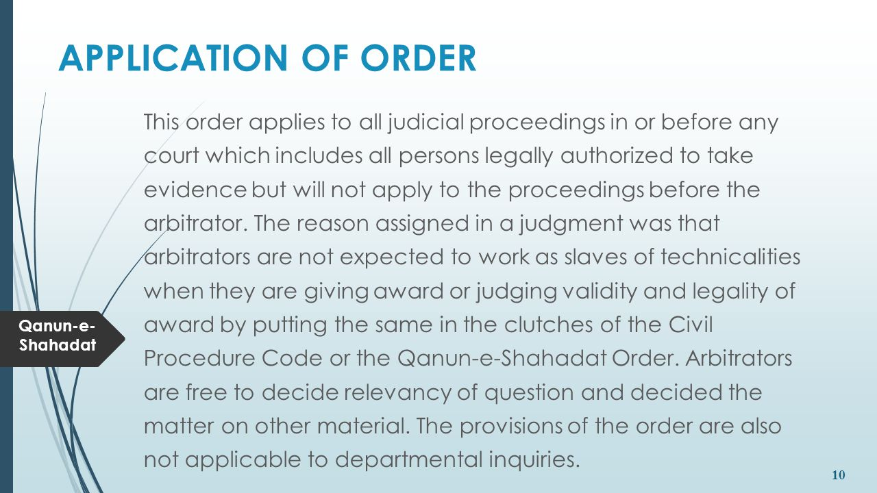 APPLICATION OF ORDER