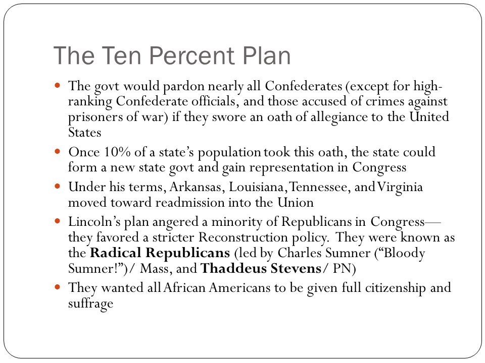 The Ten Percent Plan