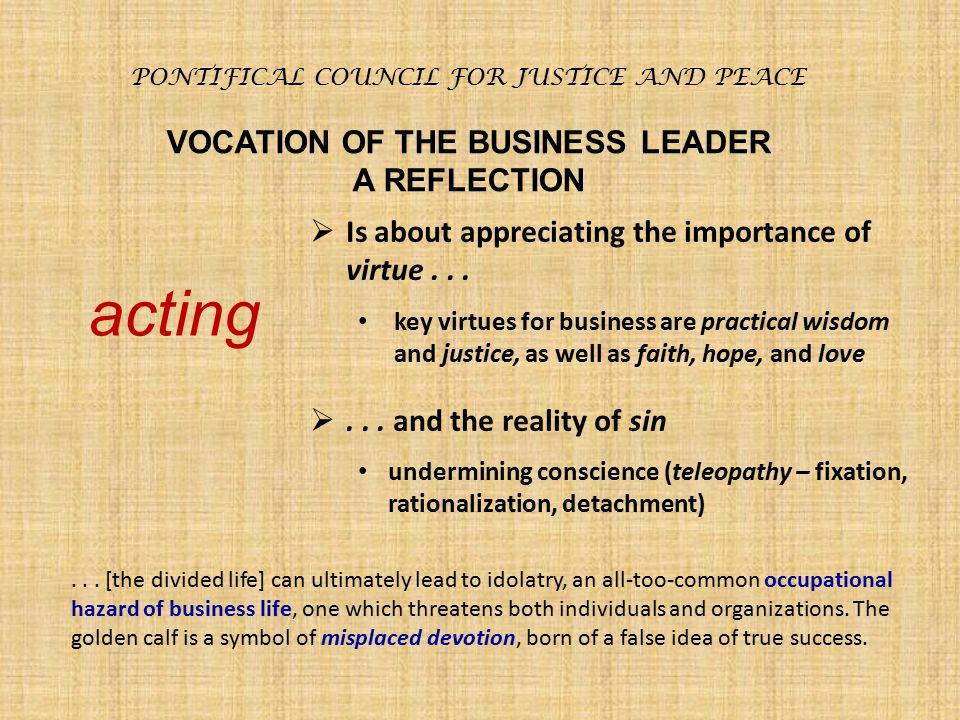 VOCATION OF THE BUSINESS LEADER