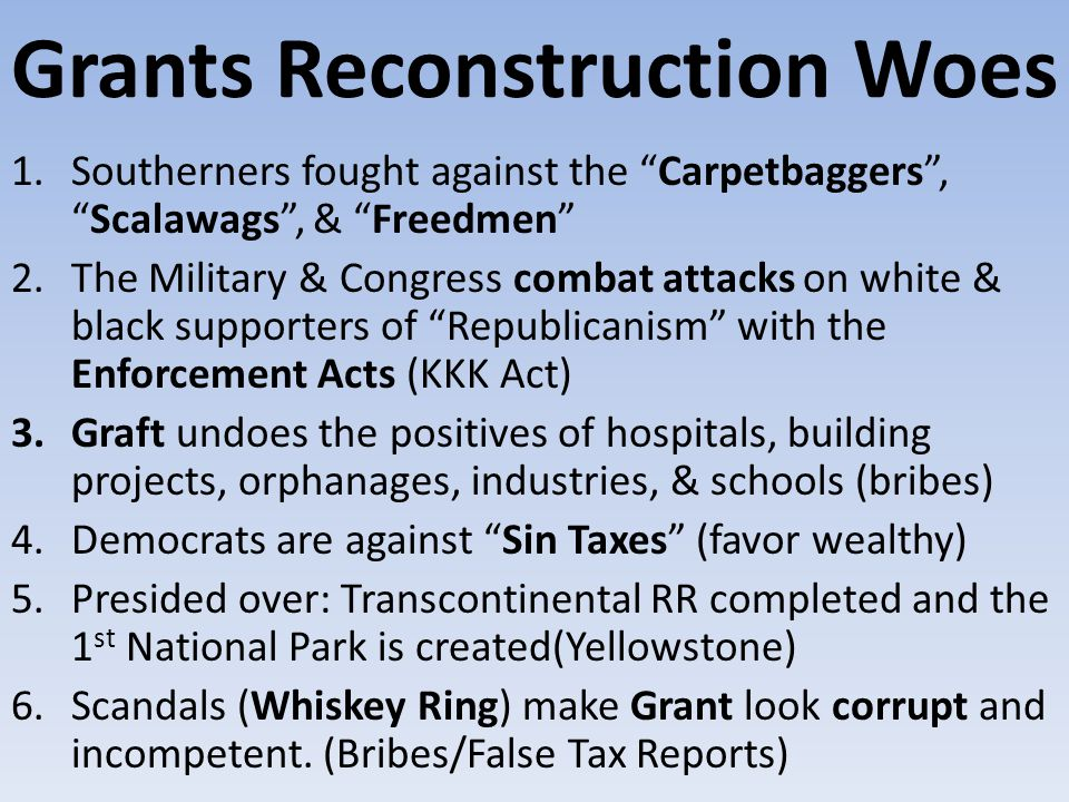 Grants Reconstruction Woes