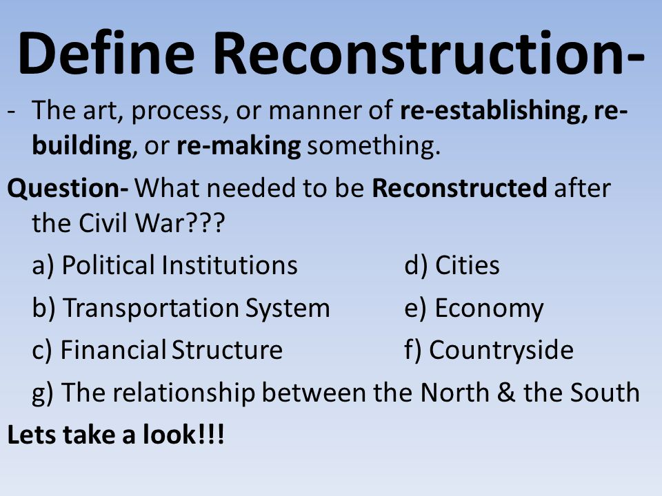 Define Reconstruction-