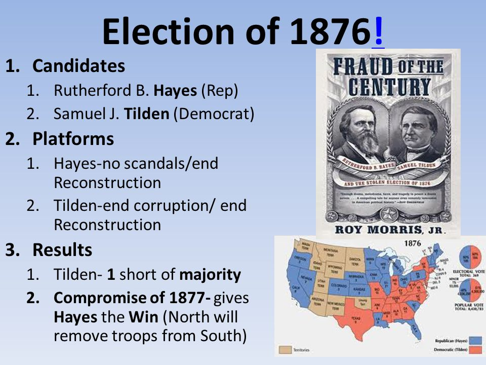 Election of 1876! Candidates Platforms Results
