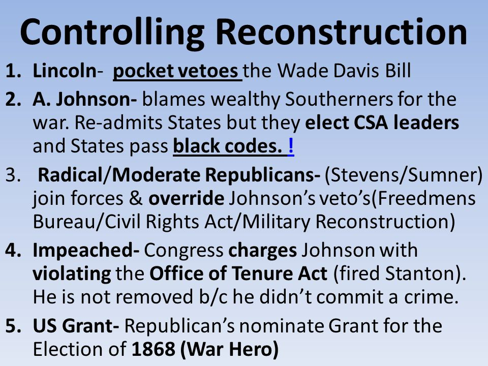 Controlling Reconstruction