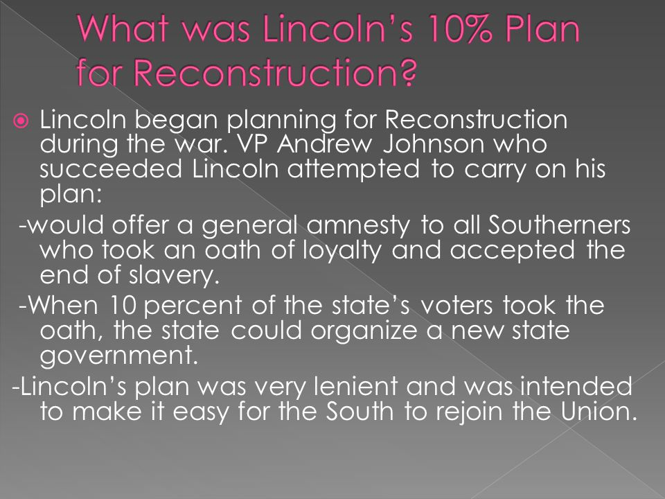 What was Lincoln's 10% Plan for Reconstruction