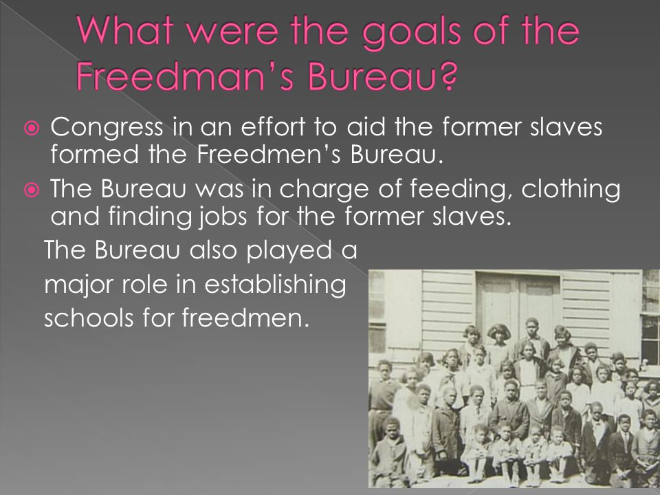 What were the goals of the Freedman's Bureau