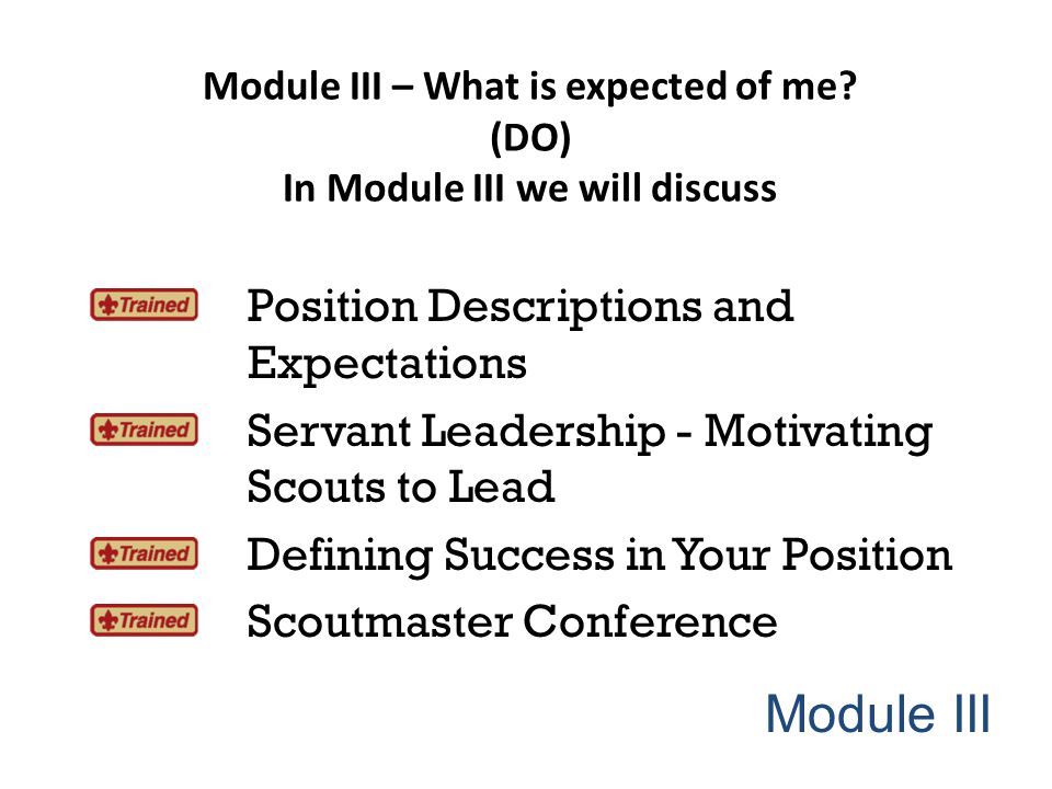 Module III Position Descriptions and Expectations