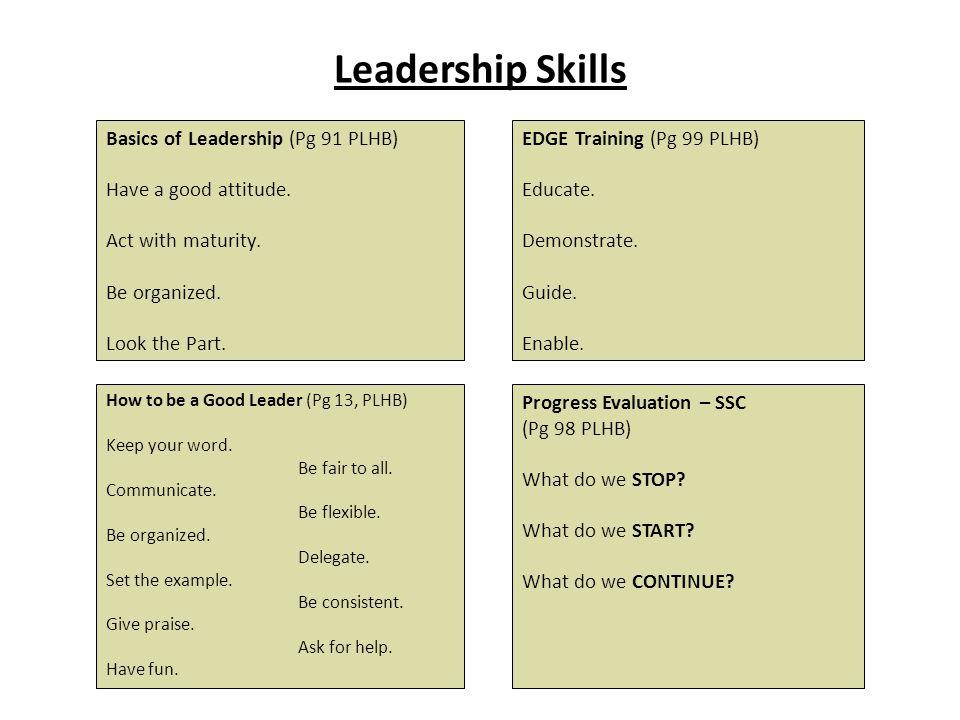Leadership Skills Basics of Leadership (Pg 91 PLHB)