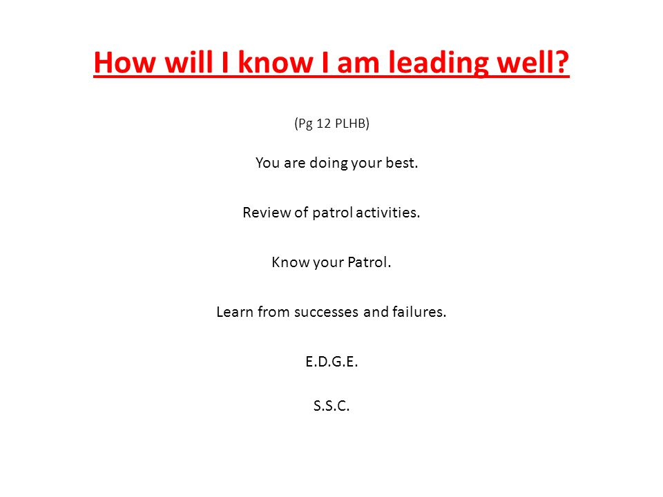 How will I know I am leading well