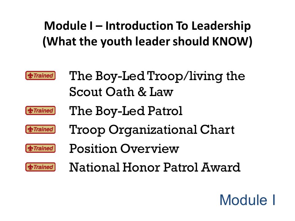 Module I – Introduction To Leadership (What the youth leader should KNOW)