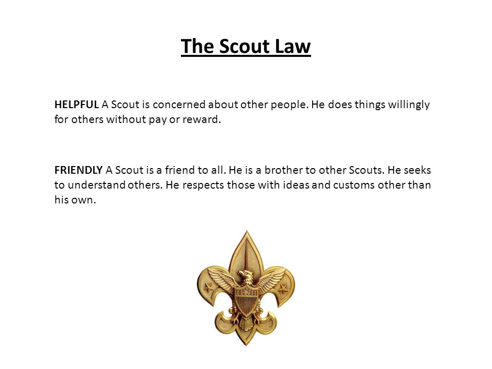 The Scout Law HELPFUL A Scout is concerned about other people. He does things willingly for others without pay or reward.