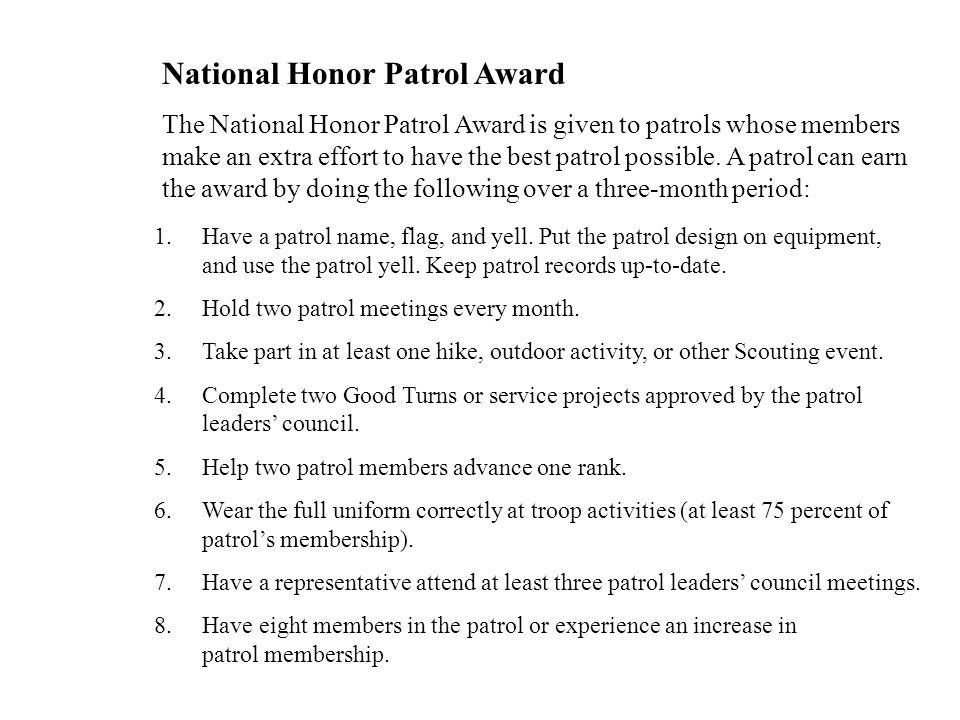 National Honor Patrol Award