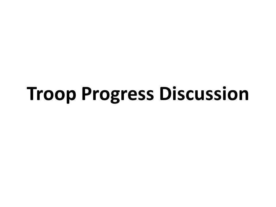 Troop Progress Discussion