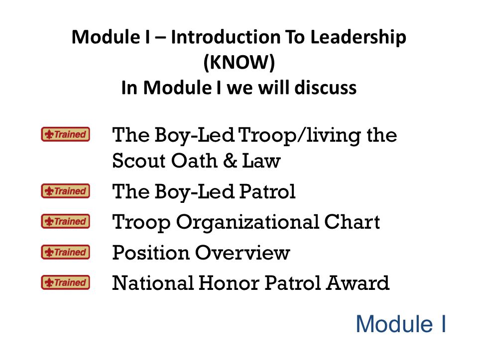 Module I – Introduction To Leadership (KNOW) In Module I we will discuss