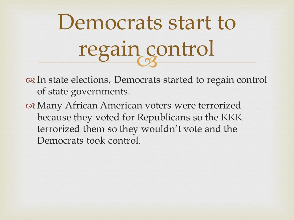 Democrats start to regain control