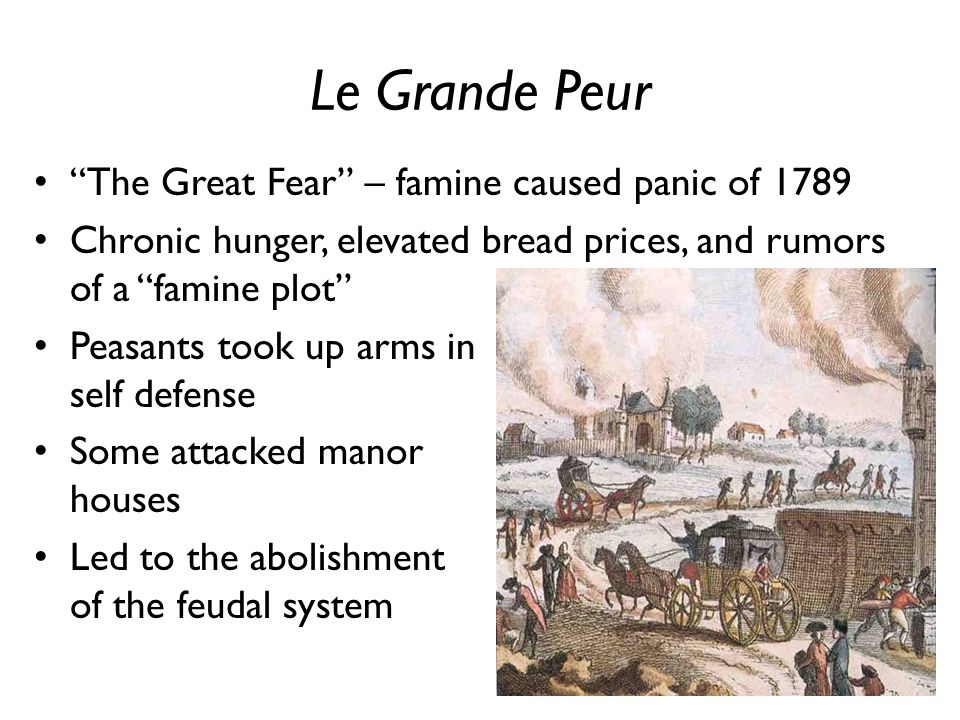 Le Grande Peur The Great Fear – famine caused panic of 1789