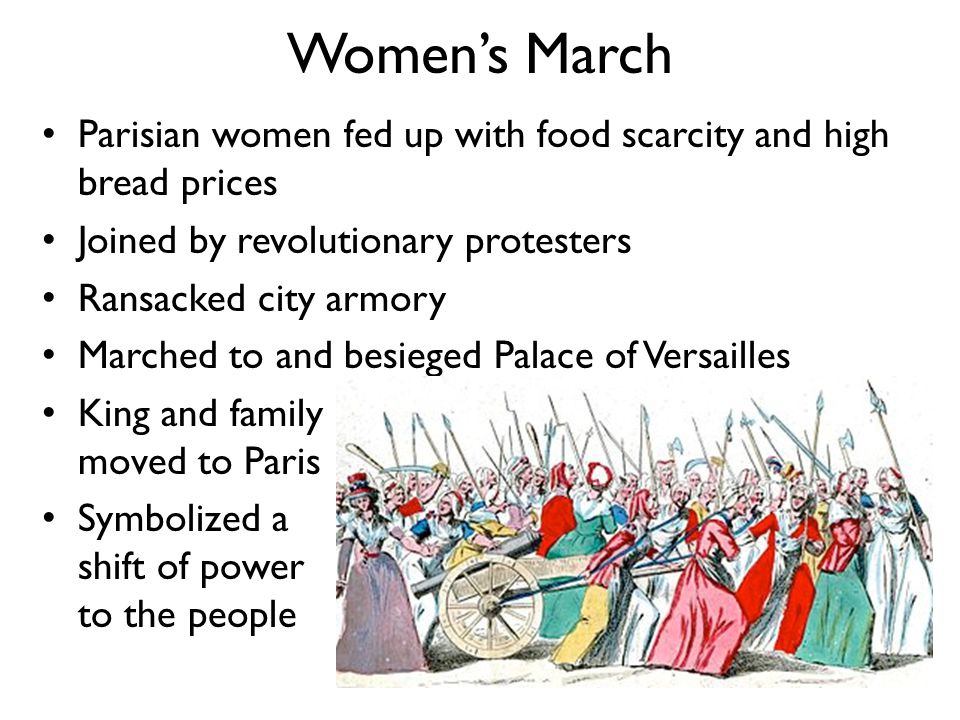 Women's March Parisian women fed up with food scarcity and high bread prices. Joined by revolutionary protesters.