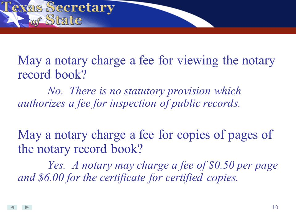 May a notary charge a fee for viewing the notary record book