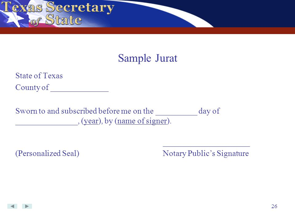 Sample Jurat State of Texas County of ______________