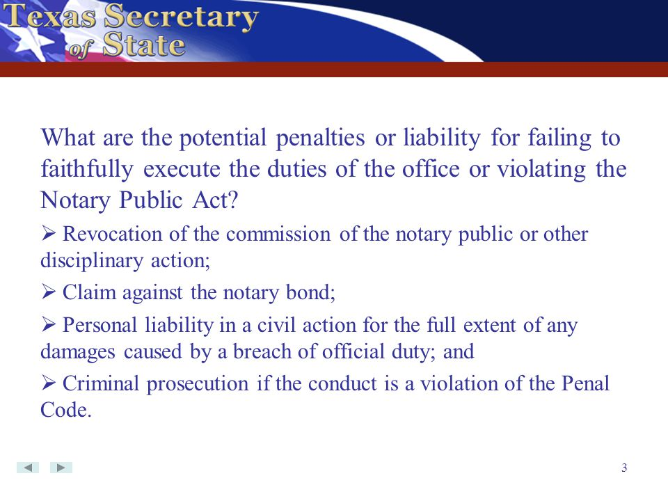 What are the potential penalties or liability for failing to faithfully execute the duties of the office or violating the Notary Public Act