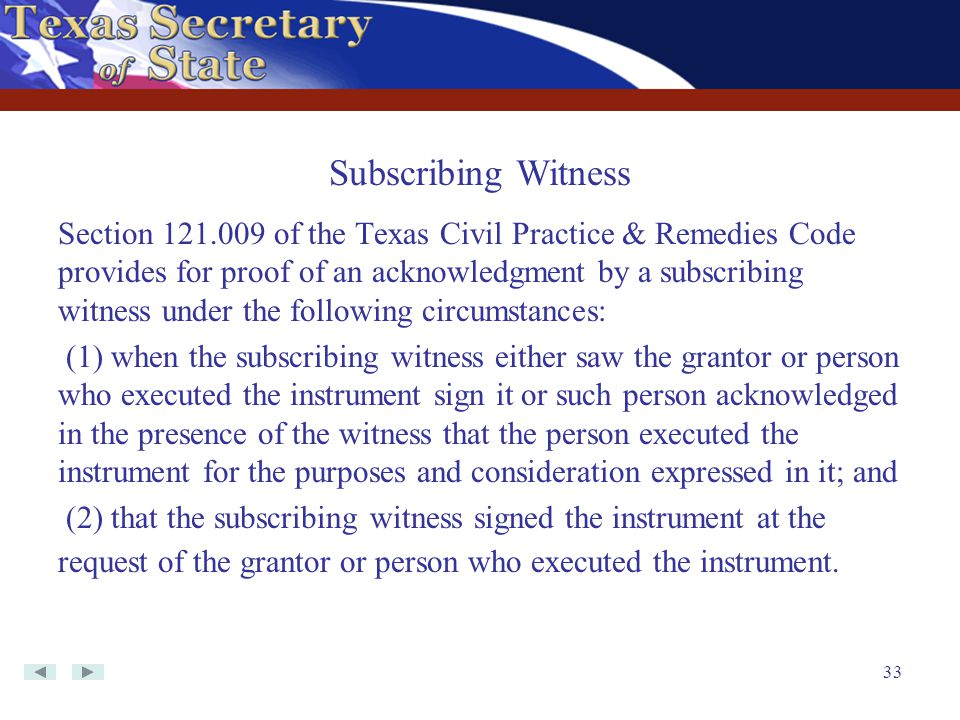 Subscribing Witness