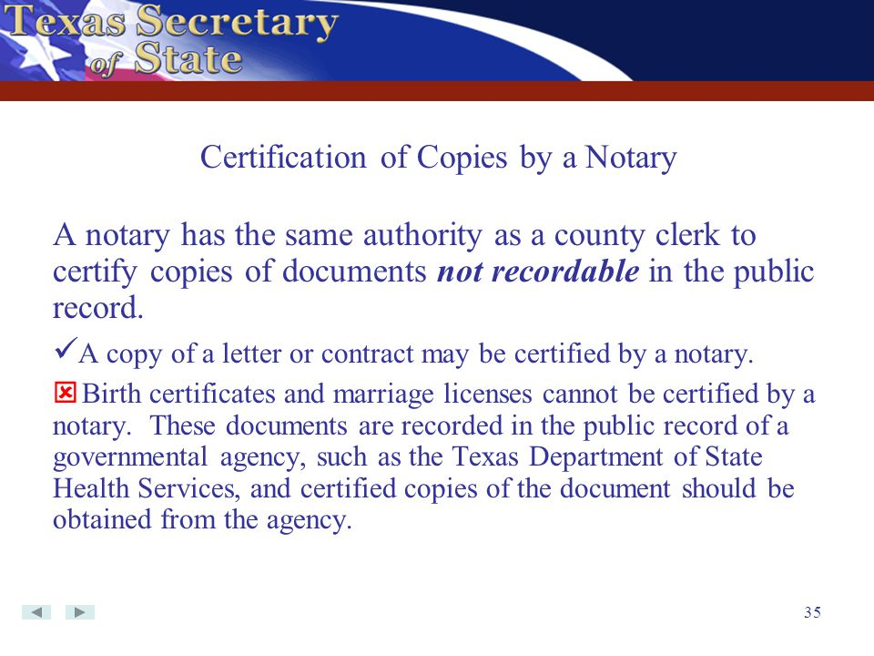 Certification of Copies by a Notary