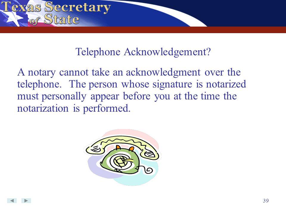 Telephone Acknowledgement
