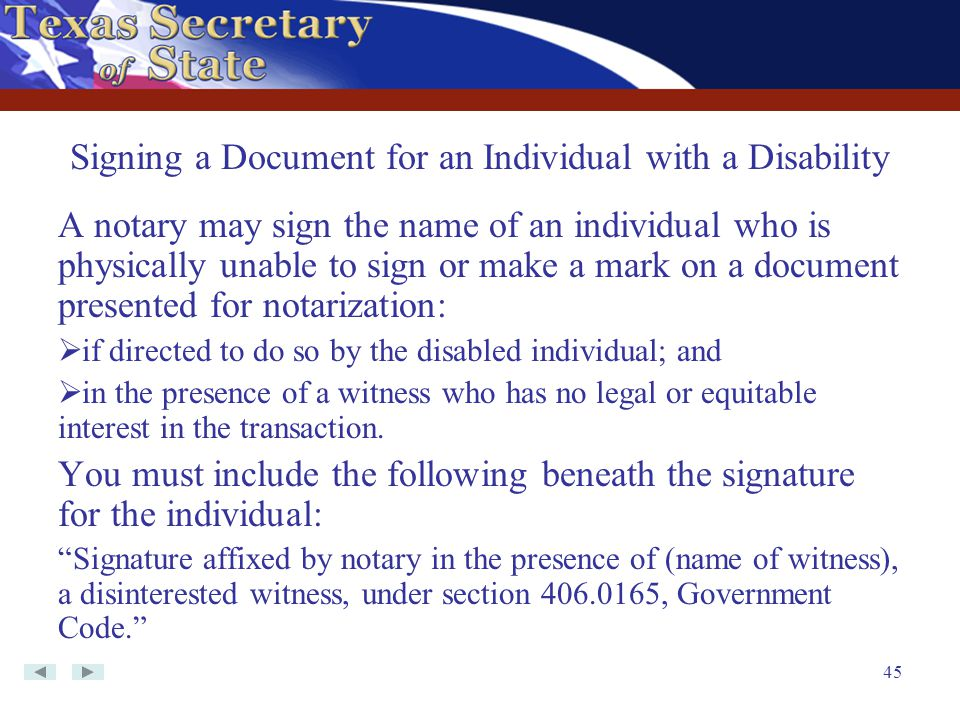 Signing a Document for an Individual with a Disability