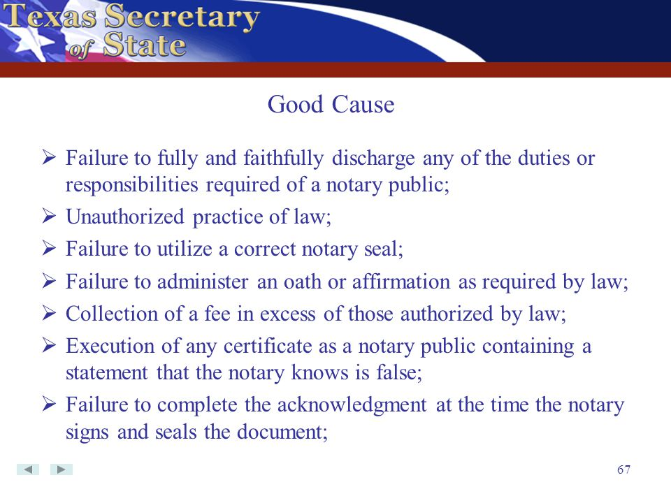 Good Cause Failure to fully and faithfully discharge any of the duties or responsibilities required of a notary public;