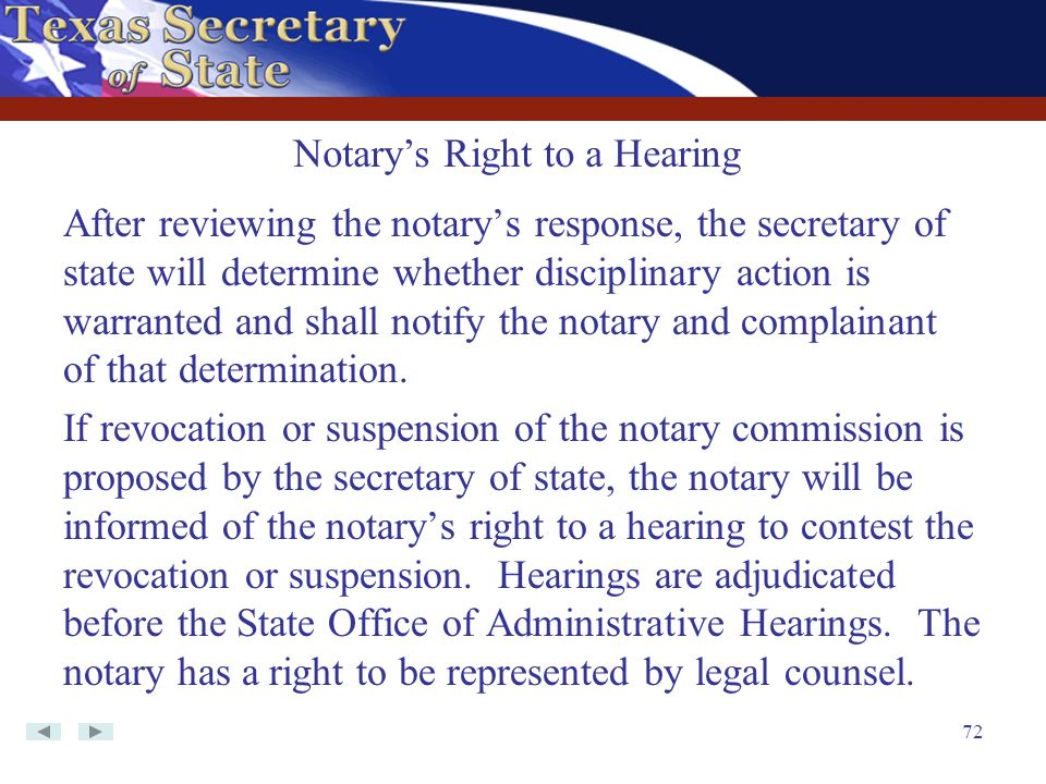 Notary's Right to a Hearing