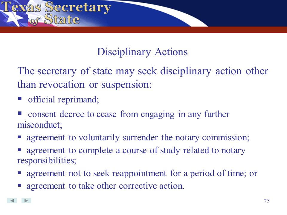 consent decree to cease from engaging in any further misconduct;