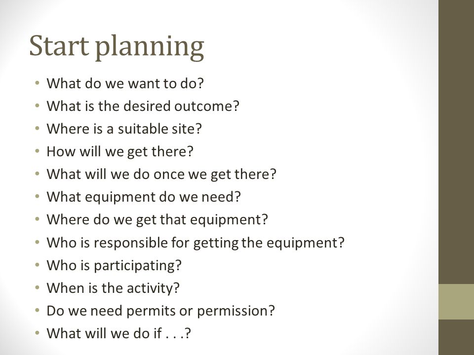 Start planning What do we want to do What is the desired outcome