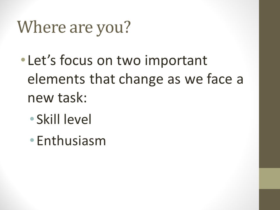 Where are you Let's focus on two important elements that change as we face a new task: Skill level.