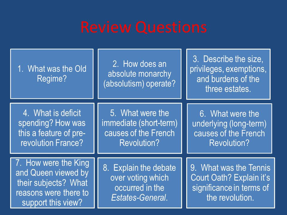 Review Questions 3. Describe the size, privileges, exemptions, and burdens of the three estates.