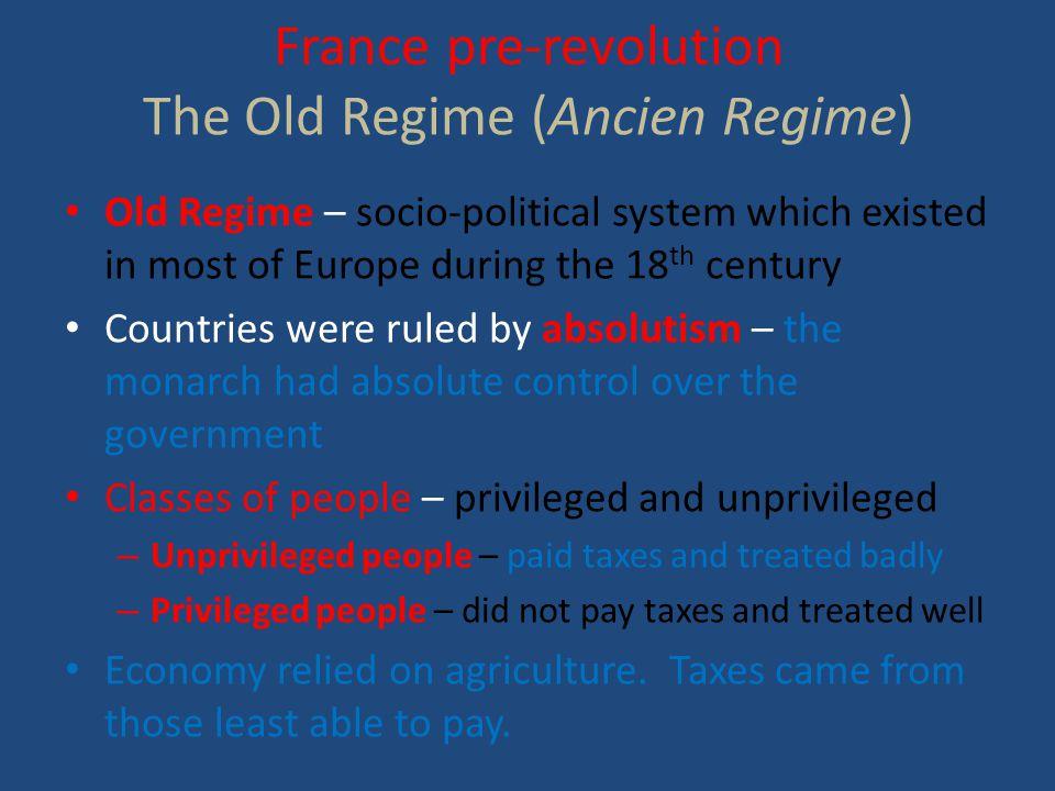 France pre-revolution The Old Regime (Ancien Regime)