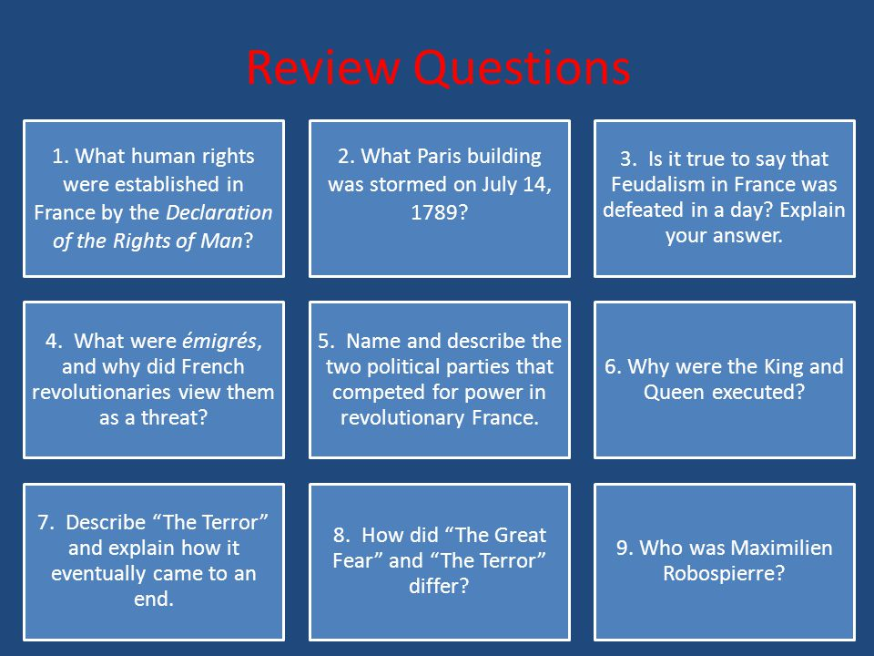 Review Questions 1. What human rights were established in France by the Declaration of the Rights of Man
