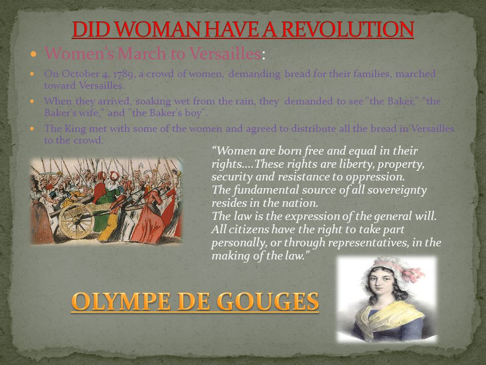 DID WOMAN HAVE A REVOLUTION