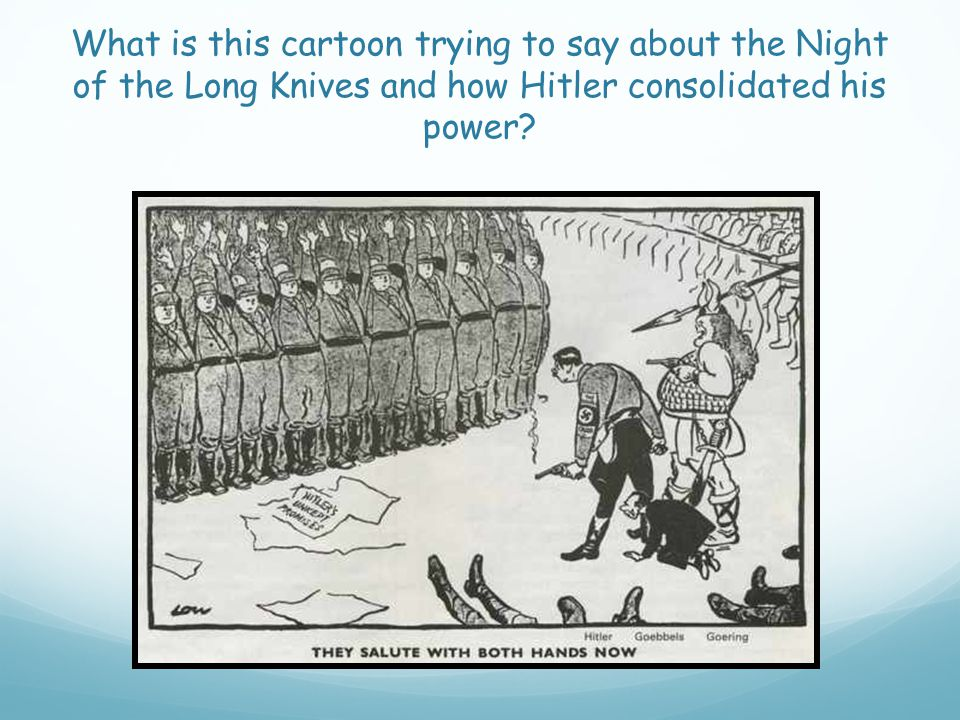 What is this cartoon trying to say about the Night of the Long Knives and how Hitler consolidated his power