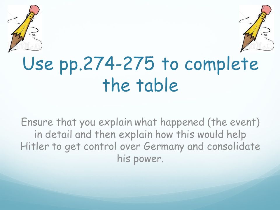 Use pp.274-275 to complete the table