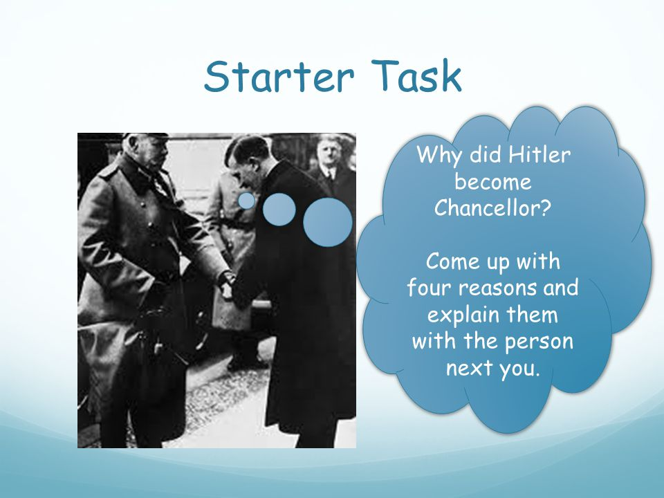 Starter Task Why did Hitler become Chancellor