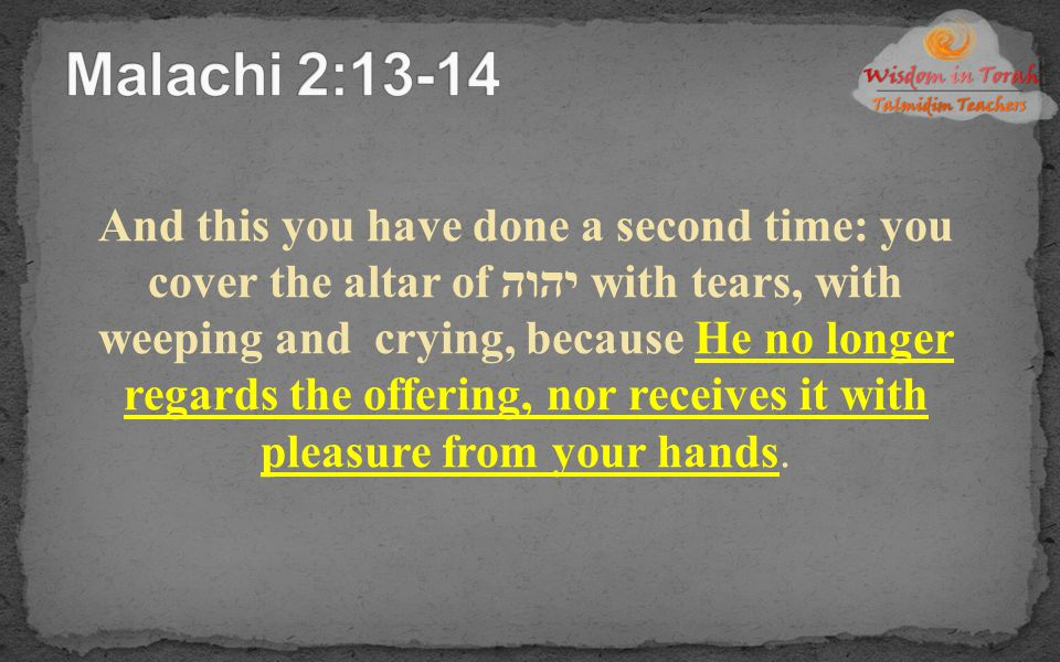 Malachi 2:13-14