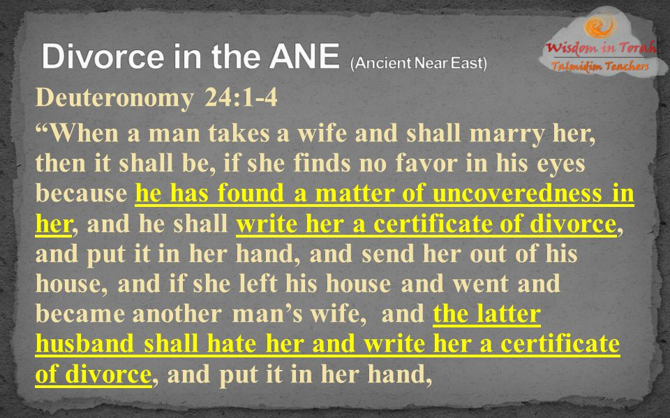 Divorce in the ANE (Ancient Near East)