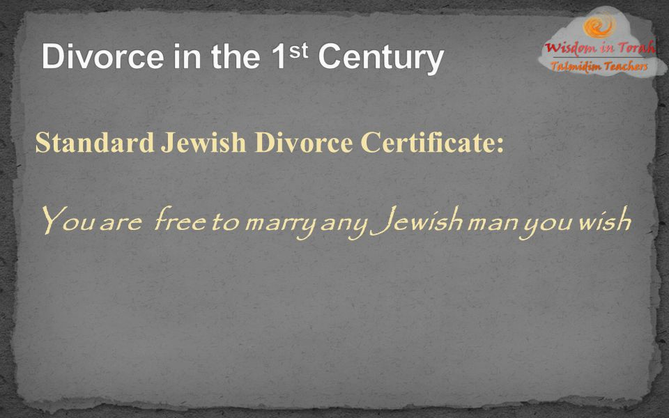 Divorce in the 1st Century