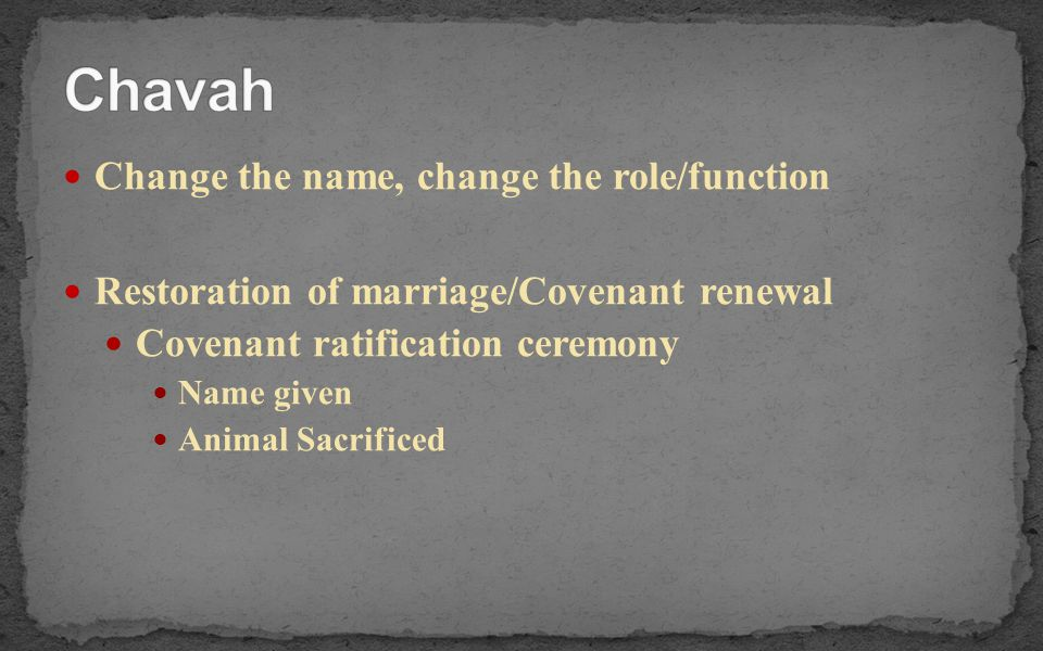 Chavah Change the name, change the role/function