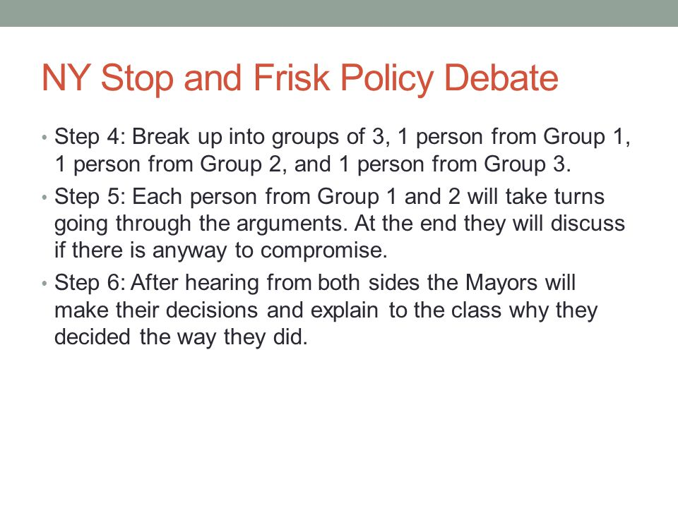 NY Stop and Frisk Policy Debate