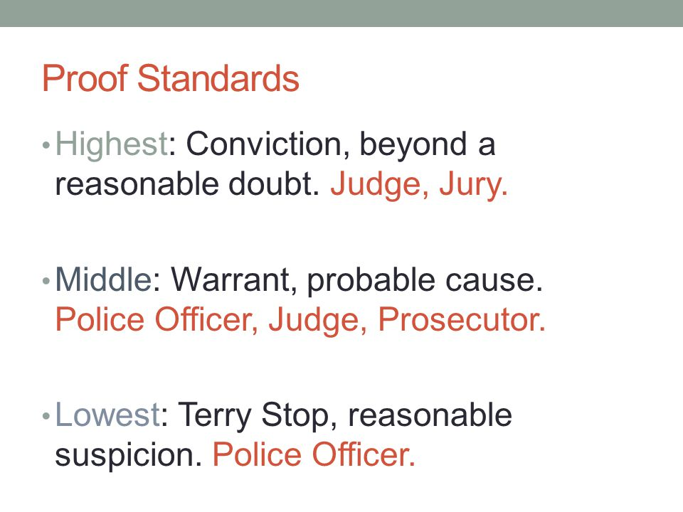 Proof Standards Highest: Conviction, beyond a reasonable doubt. Judge, Jury. Middle: Warrant, probable cause. Police Officer, Judge, Prosecutor.