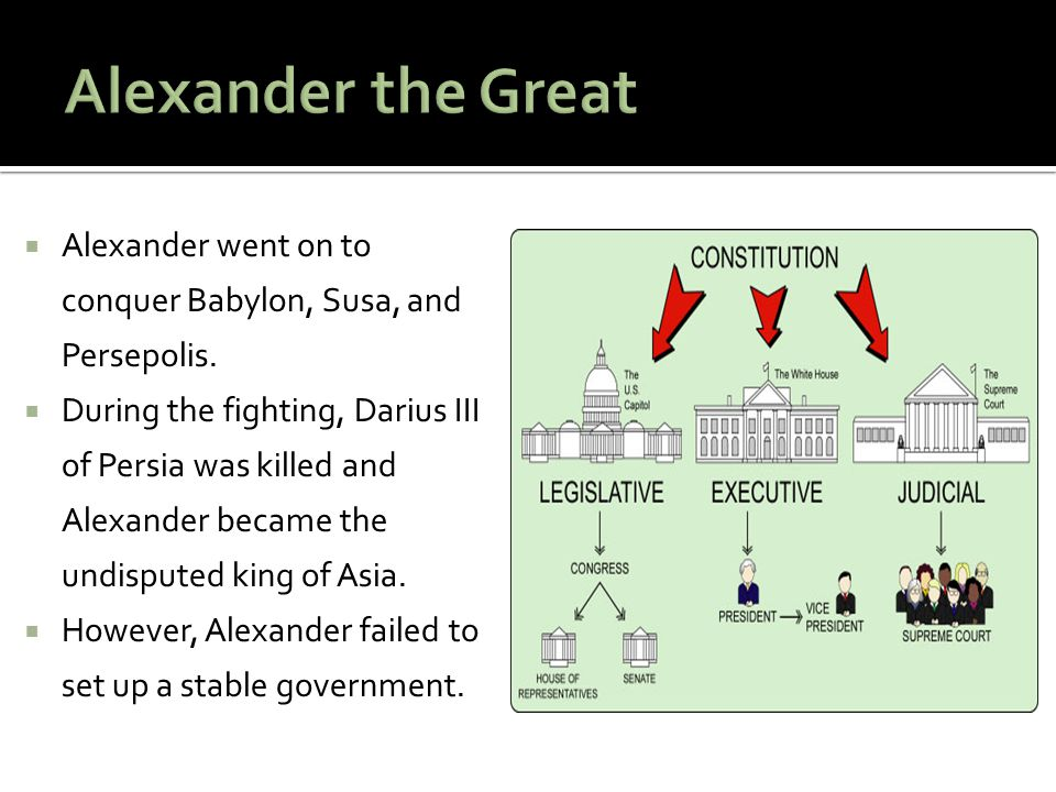Alexander the Great Alexander went on to conquer Babylon, Susa, and Persepolis.